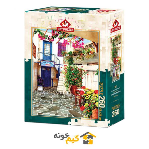 پازل courtyard-with-flowers-puzzle