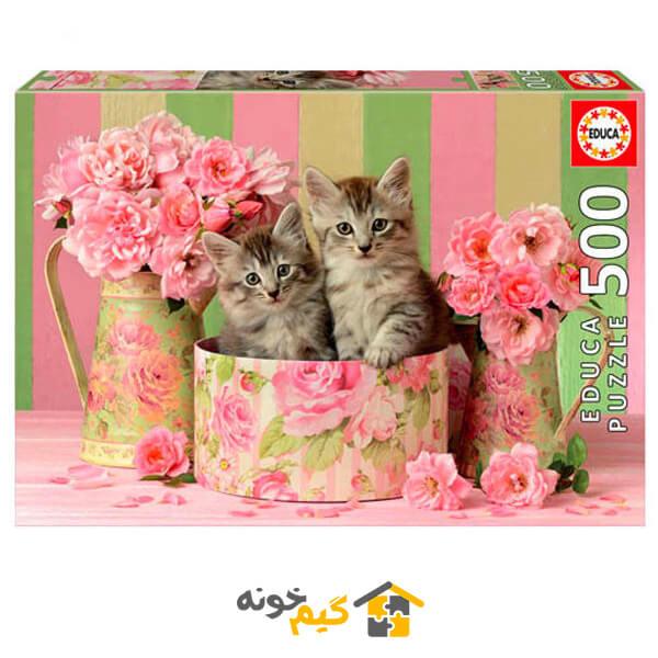 پازل kittens-with-roses-puzzle